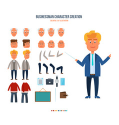 set objects which create character businessman vector image