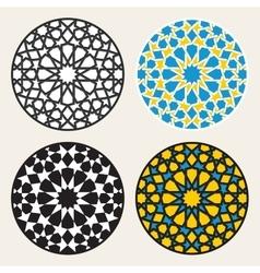 Set of four islamic ornamental rosette vector