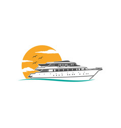 ship sea cruise logo ocean icon nautical marine vector image