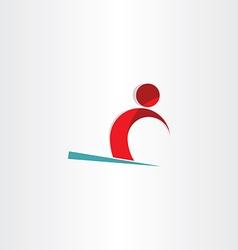skier man skiing on snow symbol vector image