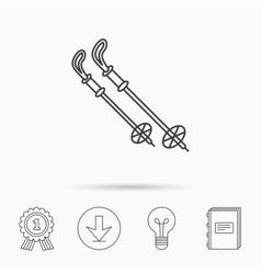 Skiing icon Ski sticks or poles sign vector image