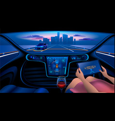 Smart car interior vector