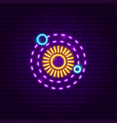 solar system neon label vector image