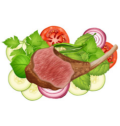 Steak and vegetables on white background vector