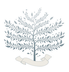 stylized tree with text banner at base the vector image