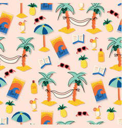 summer beach seamless pattern cartoon vector image