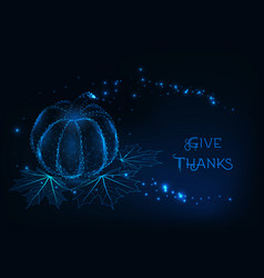 thanksgiving greeting card template with glowing vector image