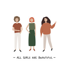 Three young women or girls dressed in trendy vector
