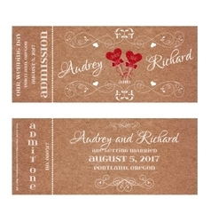 Ticket for Wedding Invitation with hearts MR and vector