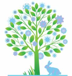 tree with rabbits vector image