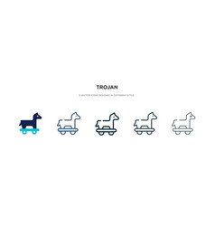 Trojan icon in different style two colored and vector