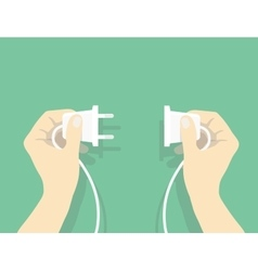 Two hands trying to connect electric plug vector image
