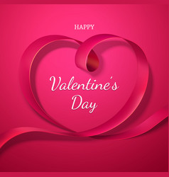 valentines day red ribbon heart holiday of love vector image
