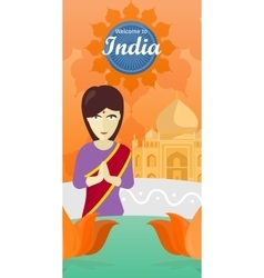 Welcome to India Indian Woman Opposite Temple vector