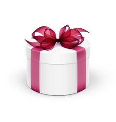White round gift box with burgundy red ribbon vector