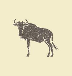 wildebeest simple icon vector image
