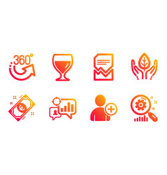 wine glass fair trade and seo statistics icons vector image