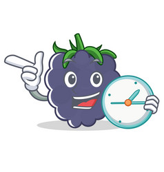 With clock blackberry character cartoon style vector