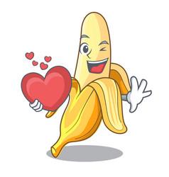 With heart fresh banana fruit mascot cartoon style vector