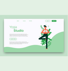 yoga studio landing web page template vector image