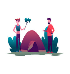 young woman and man couple hiking with tent vector image