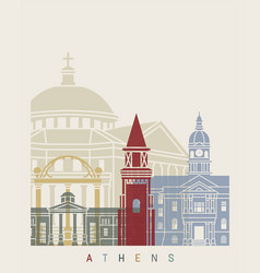 athens ga skyline poster vector image vector image