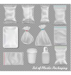 Big set of polypropylene plastic packaging - vector