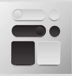 black and white button set round and square vector image vector image