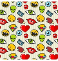 cartoon patch seamless pattern vector image vector image