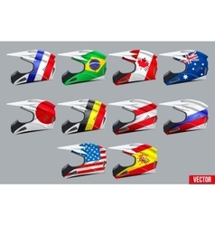 Set of Motorcycle Helmets vector image vector image