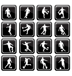 16 soccer icons vector image