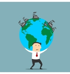 Businessman carrying earth with industrial plants vector image