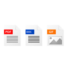 gif pdf and doc file format icon set vector image vector image