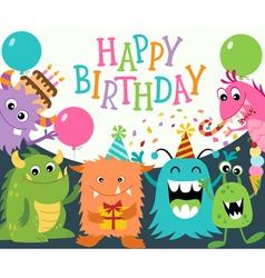 Happy birthday monsters vector