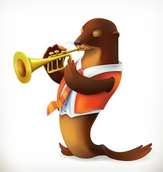 Seal playing trumpet funny character mesh vector image vector image