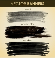 Set of hand drawn banners vector image