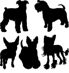set of silhouettes of dogs 4 vector image vector image