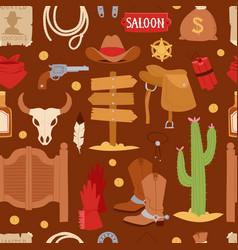 wild west cartoon icons set cowboy rodeo equipment vector image
