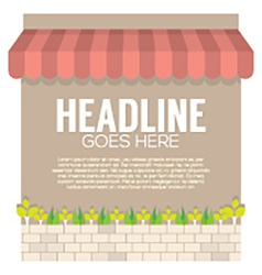 Awning Above The Wall With Plants In Bricks Pot vector image