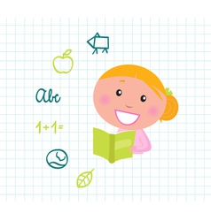 blond girl reading vector image vector image
