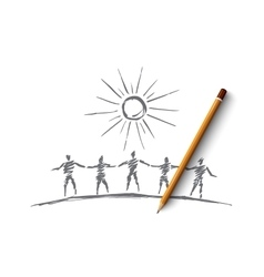 Hand drawn people team silhouettes holding hands vector image