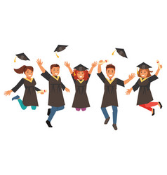 happy graduates vector image