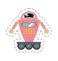 pink robot artificial intelligence cutting line vector image
