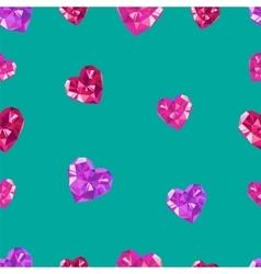 Polygonal crystal hearts seamless pattern vector image vector image