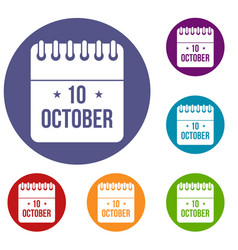 10 october calendar icons set vector image