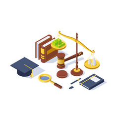 3d isometric justice equipment with hammer pen vector image