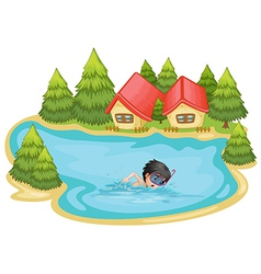 A boy swimming in the pool surrounded with pine vector image