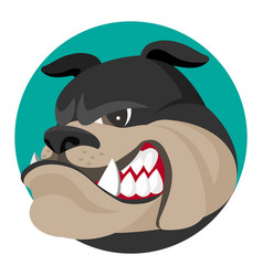 angry bulldog face profile view realistic vector image