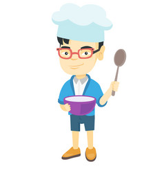 Asian boy holding a saucepan and a spoon vector