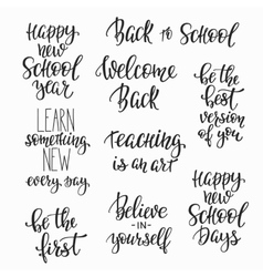 Back to school typography quote set vector image